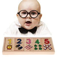 Wholesale New Design Children Wooden Number Counting Matching Puzzle Toy Baby Kids Preschool Educational Learning Puzzles Toy Gift FCI