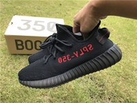 Unisex PU PVC 2017 Boost 350 V2 Core Black Solar Red (WITH BOX) SPly 350 Running Shoes Kanye West Sneakers For Men And Women