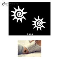Tattoo Stencil airbrush tattoo stencils - Piece Small Henna Tattoo Stencil Body Art Sun Decorative Pattern Design DIY Mehndi Airbrush Template Tattoo Stencil Gift S504
