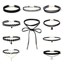 10 / pcs nouvelle mode dentelle daim garniture collier or plaqué noir rectangle pendentif bijoux vintage instruction ruban Livraison gratuite cadeau de Noël