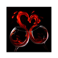 Wholesale Metal Abstract Wall Art Red Color Romantic Night With Goblet quot For Wall Decoration