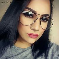 aviation pilots - Fashion Clear Glasses Women UV Protection Clear Frame Glasses Men Myopia Lunette Aviation Oculos Female Clear lens glasses