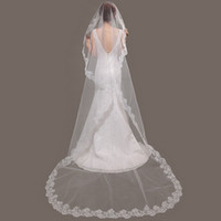 Wholesale New Real Photos lace edge long wedding veil Cathedral bridal veil accessories M veil head veils Vail