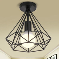 Wholesale black birdcage ceiling lights iron minimalist retro ceiling lamp Scandinavian loft pyramid lamp metal cage with led bulb
