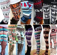 Wholesale Xmas Snowflakes Reindeer Print Leggings Colors Knitted Women Stretchy Pants Nordic Thick Warm Bootcut Christmas Gift