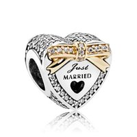 Silver Food Silver Authentic 925 Sterling Silver Bead Charm Crystal Wedding Love Heart With Gold Bow Beads Fit Pandora Bracelet Bangle DIY Jewelry HK3736