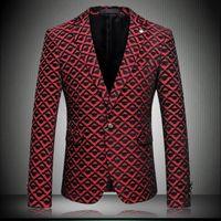 Wholesale 2016 New Wine Red Men Floral Blazers Costume Homme Casual Blazer Fashion Slim Flower Suit