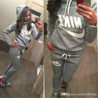 Wholesale 2017 New Arrival Women active set tracksuits Hoodies Sweatshirt Pants Running Sports set long sleeves and pants