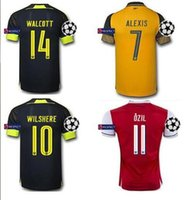 arsenal champions league - 2016 Sleeve Arsenals Jerseys Gunners Jerseys Away Yellow OZIL WILSHERE RAMSEY ALEXIS GIROUD The champions league Full Shirts