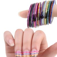 beauty advice - 30 set Mixed colorful beauty rolls alternating foil stickers advice line DIY nail design stickers nail jewelry tools NA21