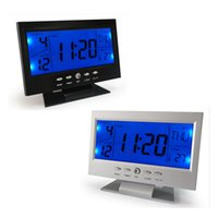 Wholesale Sound Control LED Digital Home Clock Multi Functional Clock LED Calendar Weather Hygrometer Thermometer Display Clock