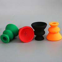 Precio de Shisha humo de colores-KKDUCK Narguile Narguile Silicón 7cm Bowl Shisha Cabeza Nargile Tobacco Holder Pipa de Agua Smoking Bowl Colorido