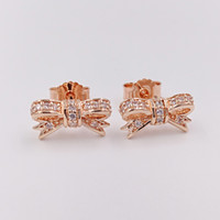 Wholesale Authentic Sterling Silver Sparkling Bow Earrings Fits European Pandora Style Jewelry CZ Rose Gold Plated Studs