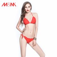 Wholesale 2016 sexy red bikini set Halter bikini top with removable chest pad adjustable elastic bikini bottom swimsuits for women