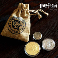 antique metal bank - 3pcs set Harry Potter and The Sorcerer s Stone Gold Gringotts Bank Coin Unum Gaueon Unum Stckle Unum Kout Collection Coin Replica