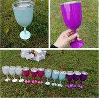 Wholesale PINK Wine Glass Cups oz Stainless Steel Double Wall Insulated Metal Goblet With Lid Rambler Colster Tumbler Red Wine Mugs