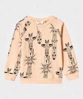 al por mayor suéter de las muchachas del búho-La impresión del buho de las muchachas de los muchachos de la camiseta de los niños remata el resorte de la manera 2017 el algodón largo de la manga de la historieta arropa el suéter T0512 de los niños del INS