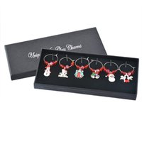 Wholesale Box Mixed Red Crystal Christmas Gift Collection Enamel Pendant Wine Glass Charms Mark Ring Christmas Dinner Table Decoration