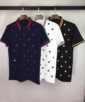 bee men - 2017 new men s brand polo t shirt bees embroidery fashion t shirt Casual solid male polo shirt Short Sleeve breathable polo shirt