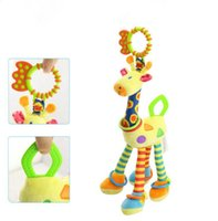 Girafe en peluche Animal Baby Teether Doll Handbells Rattles Toys For Crib Chaise haute Lovely high quality