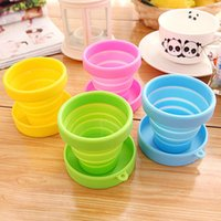 Wholesale 1465 candy color portable travel silicone folding cup outdoor sports retractable mouth rinse cup