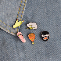 american wedding culture - Colorful Statement Unique Enamel Brooch Set Flip Flops Lightning Robber Pop Culture Chicken Leg Lapel Hat Collar Pins Women Men Jewelry