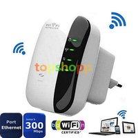 al por mayor amplificador de señal wifi al aire libre-Wireless N Wifi Repetidor de AP 802.11n Router inalámbrico Transmisor Rango de Señal Extender Booster Amplificador 300Mbps Exterior 300M Interior 100M
