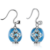 Wholesale fashion new collection noble nice party gift for lover DIY925 silver square diamond stud earrings Blue Dangle Chandelier PDRSVE024