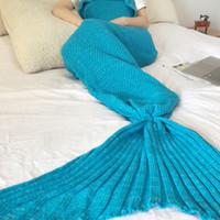 Wholesale 140x70cm Mermaid Tail Blanket Crochet and Mermaid Blanket for adult Super Soft All Seasons Sleeping Blankets