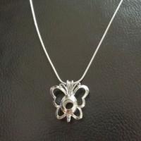Lockets animal shapes butterflies - Hot Sale Pretty Butterfly Shape pearl cage pendants Lockets DIY Silver Chain Pendant Necklace Jewelry Women Good Gift