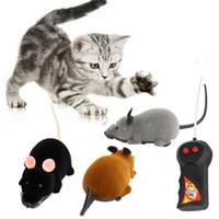 al por mayor suministros de rata-Venta al por mayor-novedad divertida Rc inalámbrico de control remoto rat ratón de juguete para gato perro negro de mascotas gris marrón suministros para mascotas novedad juguetes de regalo de Navidad