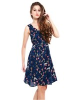 achat en gros de china mode plage-Nouveautés Fashion Women Casual Plus Size Cheap China Dress Design Femmes Vêtements sans manches Summer Floral Printed Beach Sexy Dress