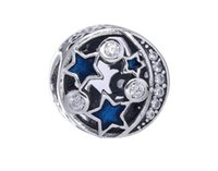 Wholesale Sterling Silver Starry Blue Night Sky Charm Bead Fit for Pandora European Pandora Style charm Bracelet Designer Gift Jewelry