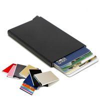 Wholesale Metal Rfid Card Protector Credit Card Holder Wallet Case Cards Slide Out Gradually Color JF
