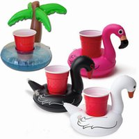 Inflatable cup Holder PVC  Inflatable Flamingo Drink Holder Palm Tree Swan Cup Holder Outdoor Swimming Bath Kiddie Toys Water Floating Party Decorations Swim Floats