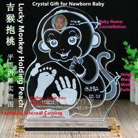 baby birthday keepsake - Customized New Baby Crystal Birthday Gift of Handprint Footprint Rat Ox Tiger Rabbit Dragon Snake HorseGoat Monkey Rooster Dog