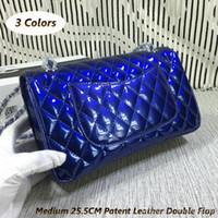 Bleu boston sacs Avis-Cuir en cuir doux doublé bleu électrique W Sac classique rabat en argent Bouchon métallique Sac bandoulière Vin rouge noir Livraison gratuite