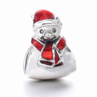 2016 Regalo de Navidad 925 de plata esterlina muñeco de nieve encantos perlas se ajusta a pulsera Pandora Regalo de Navidad Plata de cuentas para la joyería DIY marcado