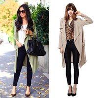beautiful trenches - beautiful Trench Coats temperament long sleeved solid color briefs windbreaker double pocket long cardigan