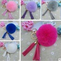 ball chian - Tassel Pompom Car Key Ring Pendant Fur Ball Keychain Rabbit Fur Plush Fur Key Chian Pendant Keychain