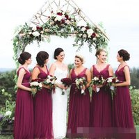 belt india - Arabic Plus Size Burgundy Chiffon Bridesmaid Dresses V Neck Lace Beaded Belts India Nigerian Maid of Honor Gowns Wedding Guest Dresses