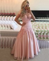 beaded shirt patterns - 2017 Pink Mermaid party dress A line Sheath Sheer neck Plus Evening Dresses dress Sexy floor length high neck backless cocktail Dresses qw