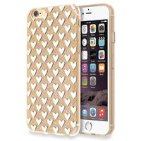 Wholesale Glitter Heart Shape Pattern PC Cover TPU Frame Cell Phone Cases for iphone plus Anti Scratch Electroplat Phone Cases for iphone