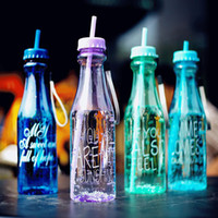 Wholesale 650ml Fashion Unbreakable Water Bottle Portable Sports Cup Double Cap With Straw Creative Transparent Bottle BPA