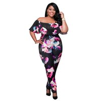 Wholesale Fashion Plus Size Floral Printing Short Sleeve Bodycon Fitness Romper Women Jumpsuit One pieces Off The Shoulder Jumpsuits Free