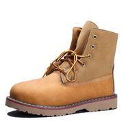 Wholesale Classic Womens Ankle Boots Waterproof Martin Boots for Women Yellow Full Grain Suede Leather Low Heel Boots