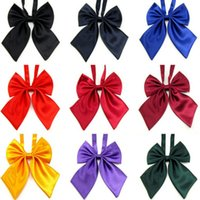 ascot hotel - New Korean style Bowtie Ribbon Party Butterfly Tie Solid color Women Students bow Smooth Neckwear Hotel clerk corbatas gravata