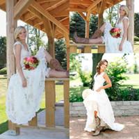 Wholesale Tea Length Wedding Dresses Vintage Full Lace V Neck Cap Short Sleeves Boho Cheap Designer Country Western Modest Wedding Bridal Gowns