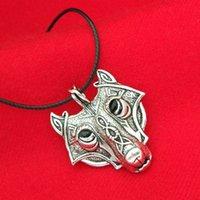 al por mayor viking regalos-Collar del lobo del nudo de Viking Colgante antiguo de la cabeza del lobo noruego de plata para las mujeres Regalo de la joyería de la declaración de los mejores amigos del cazador de Viking