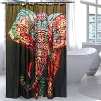 Wholesale Modern Elephant Printing Shower Curtain Waterproof Mildewproof Polyester Fabric Bath Curtain Bathroom Product With Hooks Gift